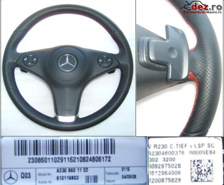 Airbag si volan piele cusatura cu rosu si dsg mercedes benz 2008 2011 * slk r171... Dezmembrări auto în Aiud, Alba Dezmembrari